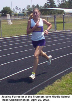 Jessica Forrester at the flrunners.com Middle School Track Championship